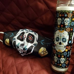 Sugar Skull 💀gift set; 1 face mask 😷 , tall 🕯